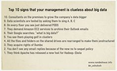 You see the term 'Big Data' everywhere and I am tired of it. http://nandeshwar.info/data-science-2/top-10-signs-management-clueless-big-data/