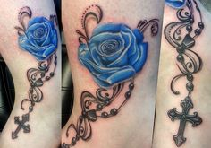 I would def get something like this. Not sure if I'd keep the flower blue though. By Kjetils Tattoo (via tattoos.com on Facebook)