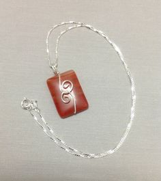 Natural Painted Orange Agate pendant in Sterling Silver, wire wrapped Handcrafted Jewelry