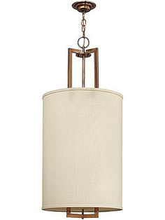 Vintage Lighting. Hampton Hall Pendant With Linen Drum Shade