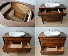Diy Bathroom Sink Cabinet Restore Refinish And Quality Dressers Into Vessel Sink Vanities Diy Under Bathroom Sink Cabinet Diy Bathroom Vanity, Wood Bathroom, Small Bathroom, Bathroom Cabinets, Bathroom Remodeling, Antique Bathroom Vanities, Vintage Bathroom Cabinet, Farmhouse Bathroom Sink, Bathroom Makeovers