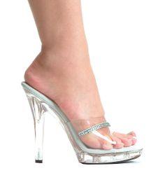 Ellie M-Jesse platform slides 5 inch heel clear rhinestone shoes