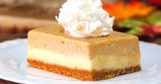 Pumpkin Cheesecake Bars  Make it gluten free by subbing crust ingredients: crushed gluten free cookies or almond flour