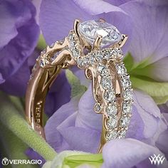 20k Rose Gold Verragio 4 Prong Pave Wrap Diamond Engagement Ring from the Verragio Insignia Collection.