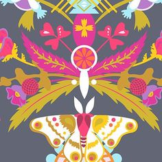 Ex Libris - A-7865-C #alison-glass #andover-fabrics #ex-libris #floral #grey #multi-color #pink #print