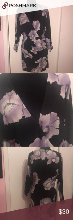 Marciano dress WORN ONCE ✨Worn once ✨ Marciano v-neck dress with Purple flowers Guess by Marciano Dresses Asymmetrical