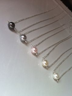 Floating Pearl Necklace Single Pearl Necklace by AnaInspirations, $14.00