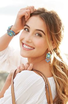 We're in vacation mode with our new Sardinia bracelet in blue and Aviva chandelier earrings! www.stelladot.com/cecille