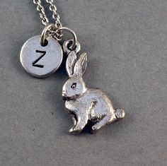 Rabbit Necklace, bunny, easter bunny, initial necklace, initial hand stamped, Personalized necklace, antique silver pewter