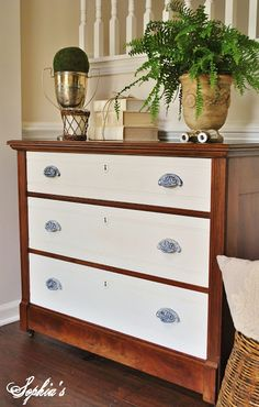 A beautiful two-toned dresser with natural wood and Old White Chalk Paint®,  decorative paint by Annie Sloan.  By Sophia's Decor.