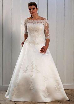 Plus Size A-Line Strapless Neckline Chapel Train Off The Shoulder Lace Sleeves White Wedding Dress