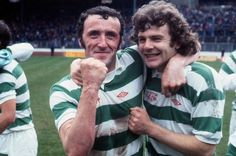 Danny McGrain and Alfie Conn of Celtic celebrate winning the Scottish Cup in 1977.