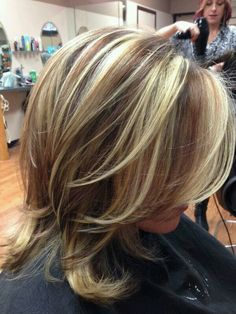 Darker blond high and lowlights med length