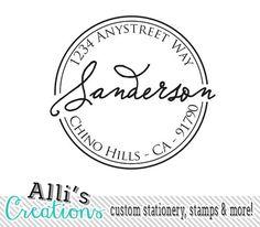 Round Return Address Stamp with Elegant Font Self Inking Stamp