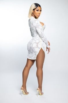 This beautiful So Sophisticated Lace Mini Dress is a must-have for your wonderful curves. The side split, together with the precisely positioned hollow cuts and tiny hemline, provides an exquisite, formal style that will make you feel confident and gorgeous. Prepare to stand out in this stunning lace dress when you combine it with a matching handbag and a set of striking earrings. #richlifestyle #richaesthetic #luxurydress #luxurydressclassy #luxuryoutfits #cutetops #fashionlooks #classydress Spring Outfits Classy, Spring Fashion Outfits, Fashion Dresses, Glamorous Dresses, Elegant Dresses, Vintage Dresses, Side Split Dress, Luxury Dress, Classy Dress