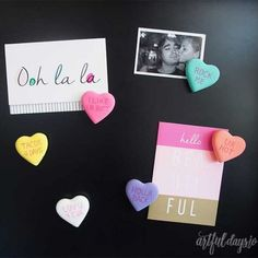 Conversation Candy Heart Magnets