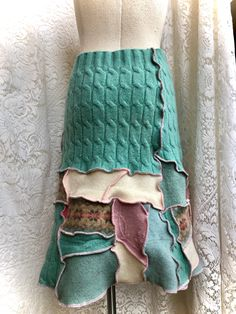 Spring is in the cool air...warm wool patchwork sweater skirt.