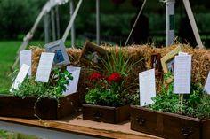 Vintage drawer planter plants escort card display | Found on Modern Jewish Wedding Blog Eco-Friendly Modern Interfaith Wedding |