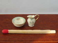 Hand-Painted Dollhouse Miniature 1/24th Scale Jug & Bowl