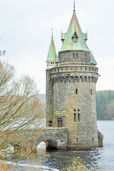 The Tower at Lake Vyrnwy, Powys, Wales. Chateau Medieval, Medieval Castle, Medieval Tower, Tower House, Castle House, Tower Castle, Beautiful Castles, Beautiful Places, Chateau Moyen Age