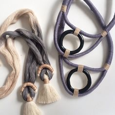 «These beauties heading to @joinerynyc and why yes, that is a new colorway for the beloved necklace No. 9. #gammafolk #naturaldyes»