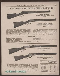 1967 WINCHESTER 94 Carbine, Centennial 66 Rifle and Carbine Print AD w/prices #Colt