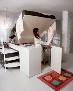 Container Bed by Dielle Raises the Bar on Built-In Bed Storage. Bed lifts up to access under bed storage area. Bed Storage, Bedroom Storage, Storage Spaces, Bedroom Decor, Closet Storage, Bedroom Ideas, Storage Ideas, Bedroom Organization, Bedroom Furniture