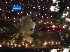 Arranged To Eat Floral Design. White Hydrangea Wedding Buffet Centerpiece.