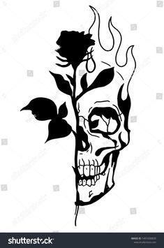 Tatto Skull, Skull Rose Tattoos, Rose Tattoo Thigh, Black Rose Tattoos, Body Art Tattoos, Sleeve Tattoos, Tattoo Black, Tattoo Design Drawings, Tattoo Sketches