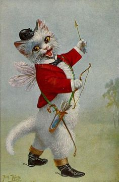 Cat Chat Katze Cupid Hunting Coat from Arthur Thiele Vintage Postcard Magnet