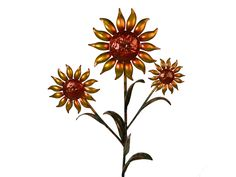 "Copper Sunflower - Triple Bloom - 24"" Tall - AJ's Copper Garden"