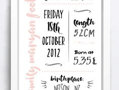 A4 Birth Infomation Printable Poster
