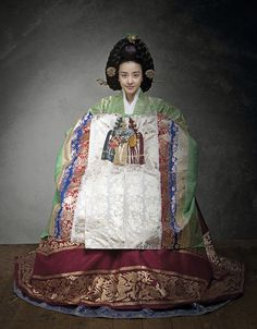 Hanbok, the traditional Korean dress--this dress is for royalty