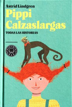 Book cover illustration of the Spanish edition of Pippi Longstocking, published by Blackie Books