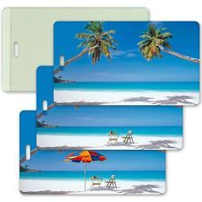 Animating All-Weather Lenticular Luggage Bag Travel Tag Beach LT04-204 from Lantor Ltd., $3.95: his weather-proof tag, with its exciting lenticular animation effect, makes a great beach-themed visual cue to help you find your luggage in those busy airports. The luggage tag transitions gracefully from a deserted island to a beach populated by a chair and table waiting for you to come and enjoy. Click here to purchase…