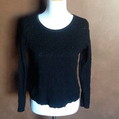 J Jill Sz s petite black Lacey material top🌷 Cute Lacey and stretchy with velvet collar. J. Jill Tops