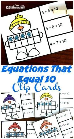 Free Snowman Addition Within 10 Clip Cards - kids will have fun practicing math with these super cute snowman theme, winter math activities #kindergarten #kindergartenmath #additionpractice #additionwithin10 #snowmantheme #freeprintable