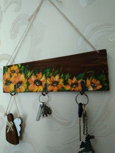 Items similar to Key holder for wall Sunflowers Kitchen Towel holder Farmhouse sign Rustic key hooks Moth Key holder for wall Sunflowers art Kitchen hanger Farm house Wood Towel holder Hanging handmade Hand Sunflower Kitchen, Sunflower Art, Painting On Pallet Wood, Diy Painting, Hobbies And Crafts, Diy And Crafts, Wall Key Holder, Jewelry Hanger, Towel Holder