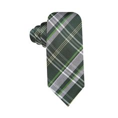 Alfani Spectrum Hand Made Monroe Plaid Slim Silk Blend Tie Green and Grey