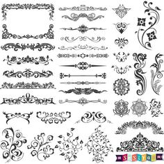 INSTANT DOWNLOAD Vintage Floral Swirls Dividers Decoration & Elements Clip art Weddings Invitation Card Stamp WS400 Buy 1 Get 1 Free by SasiyaDesigns on Etsy