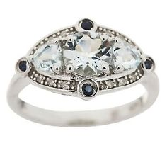 Sterling 1.00 ct tw Aquamarine & Sapphire Ring