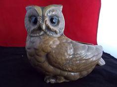 Vintage Lefton Brown Owl Planter Japan Ceramic Flower Pot Original Foil Sticker H7438