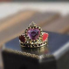 Crown Purple diamond Heart Cocktail Ring