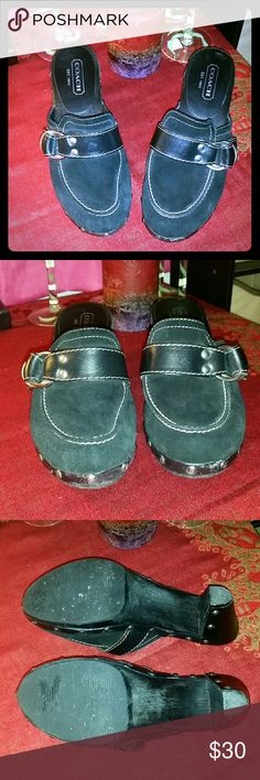 """Coach """"Raina"""" black suede clogs Preowned, still in great condition. Minor scuff on toes, soles show some wear. Lots of love left in these black suede, studded trim,  silver buckle clogs. Block heel is 2.5 inches. Made in Italy. Suede in excellent condition. No reasonable offer refused. Bundle and save. Free gift with every purchase! Happy poshing! Coach Shoes Mules & Clogs"""