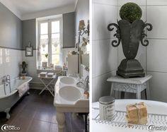 maison de charme gustavien interieure | dans un camaïeu de blanc et de gris la salle de bains éclairée par ...