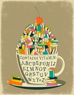 'tea cup of read' cup filled with books, decorated with alphabet 'Contains vitamin: A...Z'