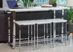 Features three stools with wood seats and side USB power plugs. Bar Table Sets, Bar Tables, Marble Top, Counter, Stool, Table Settings, Chrome, Dining, Furniture