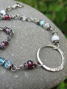 Bohemian Gemstone Bracelet in Garnet Moonstone by AmyFriendJewelry