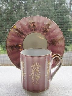 Vintage Coffee Can Demitasse Cup Saucer Pink Lusterware w Gold Gilt Scalloped | eBay