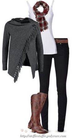 Gray cardigan wrap, Plaid scarf & Frye boots... - http://urbanangelza.com/2015/10/26/gray-cardigan-wrap-plaid-scarf-frye-boots/?Urban+Angels http://www.urbanangelza.com